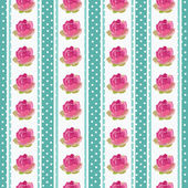 Seamless wallpaper pattern with flowers on blue background — Stockvector