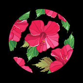 цветочный узор с гибискус — Cтоковый вектор