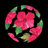 Patrón floral con hibisco — Vector de stock