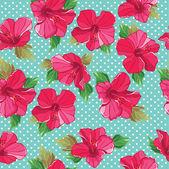 άνευ ραφής λουλουδάτο μοτίβο με ιβίσκος — Διανυσματικό Αρχείο