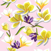 Floral seamless pattern with frangipani — Stock Vector
