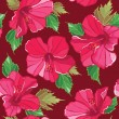 Floral seamless pattern with hibiscus, hand-drawing. - Image vectorielle