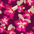 Floral seamless pattern with hibiscus, hand-drawing. - Векторная иллюстрация