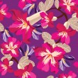 Floral seamless pattern with hibiscus, hand-drawing. — Vettoriali Stock