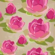 Floral seamless pattern with lotus, hand-drawing. — Stockvektor
