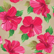 Floral seamless pattern with hibiscus, hand-drawing. — Stockvektor