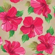 Floral seamless pattern with hibiscus, hand-drawing. — Stock Vector