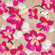 Floral seamless pattern with hibiscus, hand-drawing. — Stock Vector #23068106