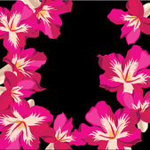 Motif floral avec hibiscus, dessin à main. — Vecteur