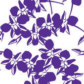 蘭の花, とのシームレスな花柄手描き. — ストックベクタ
