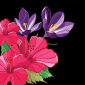 Beautiful floral pattern with hibiscus and crocus. — Vector de stock