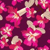 λουλουδάτο μοτίβο άνευ ραφής με ιβίσκους, χέρι-κατάρτιση. — Διανυσματικό Αρχείο