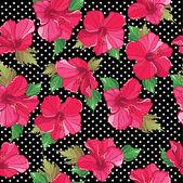 Patrón floral transparente con hibisco, mano-dibujo. — Vector de stock