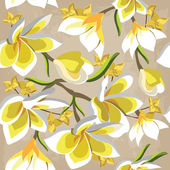 Floral seamless pattern with frangipani, hand-drawing. — Stock Vector
