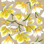 Motivo floreale senza soluzione di continuità con frangipani, disegno a mano. — Vettoriale Stock