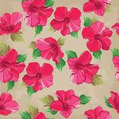 Floral pattern sans couture avec hibiscus, dessin à main. — Vecteur