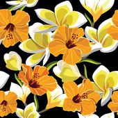 Floral seamless pattern with beautiful flowers, hand-drawing. — Cтоковый вектор