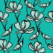 Vector de stock : Floral seamless pattern with beautiful flowers, hand-drawing.