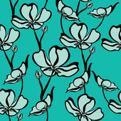 Floral seamless pattern with beautiful flowers, hand-drawing. — Vector de stock