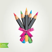 Colored pencils.Vector illustration. — ストック写真
