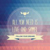 海报所有你需要是爱和夏天. — 图库照片