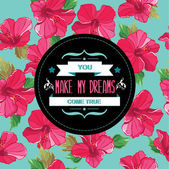 Floral poster.Typography.Vector illustration. — Stock Photo