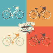 Summer poster with bicycle.Typography.Vector illustration. — Stock Photo