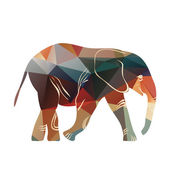 Cartoon elephant. The silhouette of the elephant collected from geometric pattern. — Stock Photo