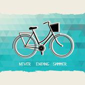 Lato plakat z bicycle.typography.vector ilustracja. — Zdjęcie stockowe