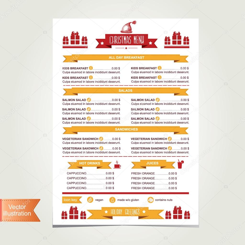 Cafe menu Christmas, template design.Vector illustration. — Stock ...