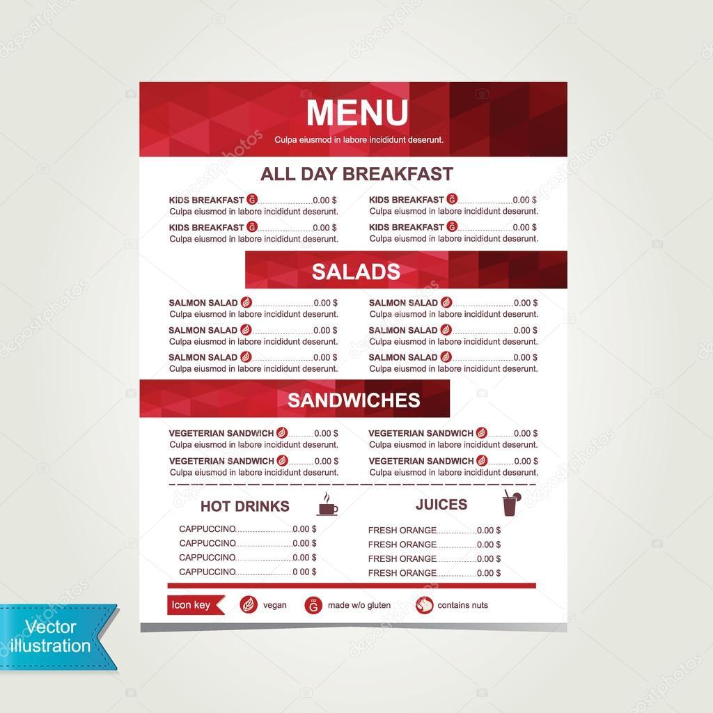 Cafe menu, template design.Vector illustration. — Stock Photo ...