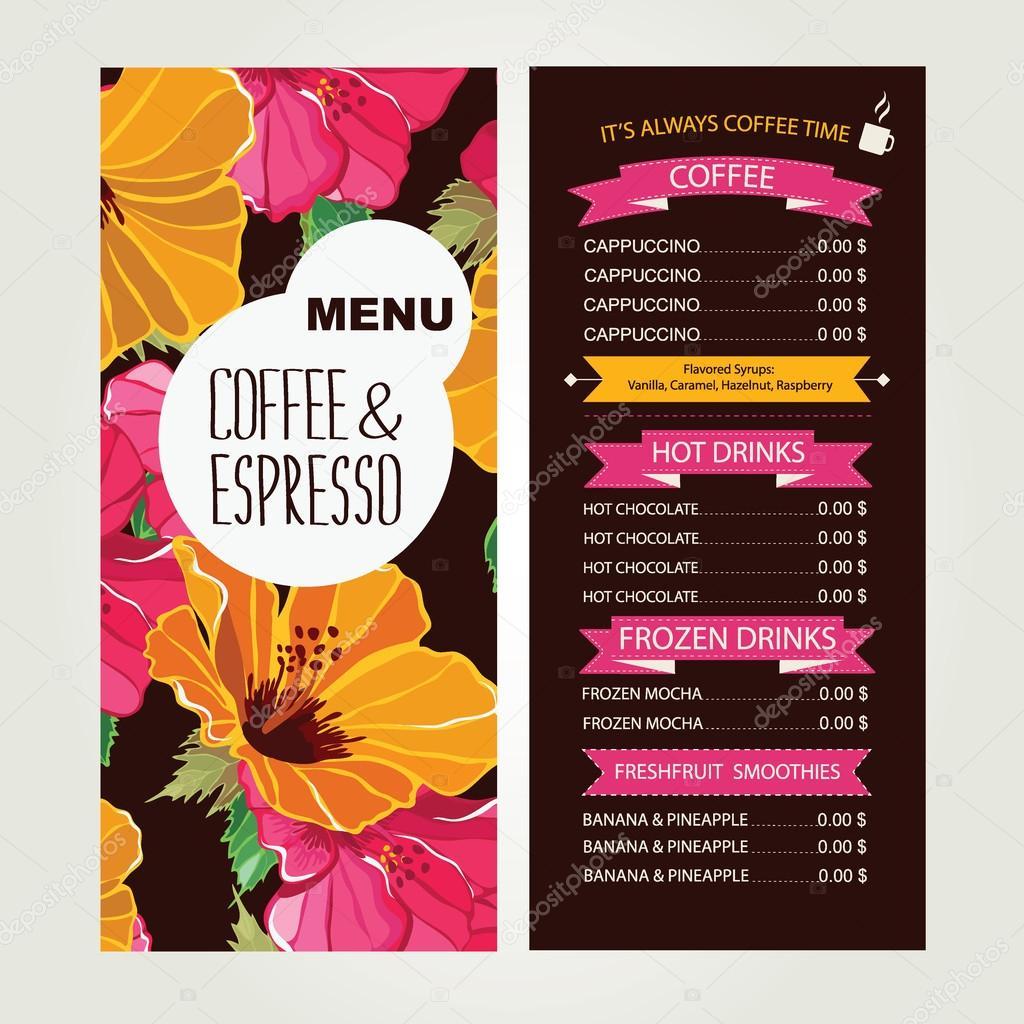 дизайн меню кафе шаблон