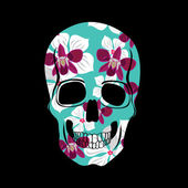 Skull with floral ornament.Vector illustration. — Stock Vector