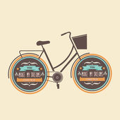 Letní plakát s bicycle.typography.vector obrázek. — Stock vektor