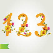 Floral numbers set, vector illustration. — Stock Vector