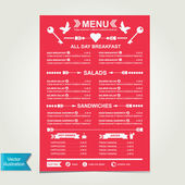Cafe menu, template design. — Vector de stock