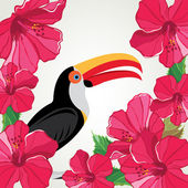Toucan with beautiful flowers. Vector illustration. — Stock Vector