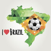 Poster soccer world game. Design concept brazil — Stock Vector