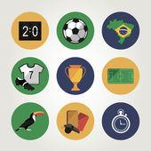 Fußball-icon-set. brasilien-sommer-world-spiel. flache bauform — Stockvektor