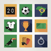 Soccer icon set.  Brazil summer world game. Flat design — Stock Vector