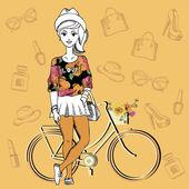 Hippi kız. moda geek karakter. vektör çizim. — Stok Vektör
