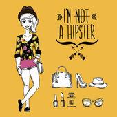 Hipster girl. Fashion geek character. Vector illustration. — Stock Vector