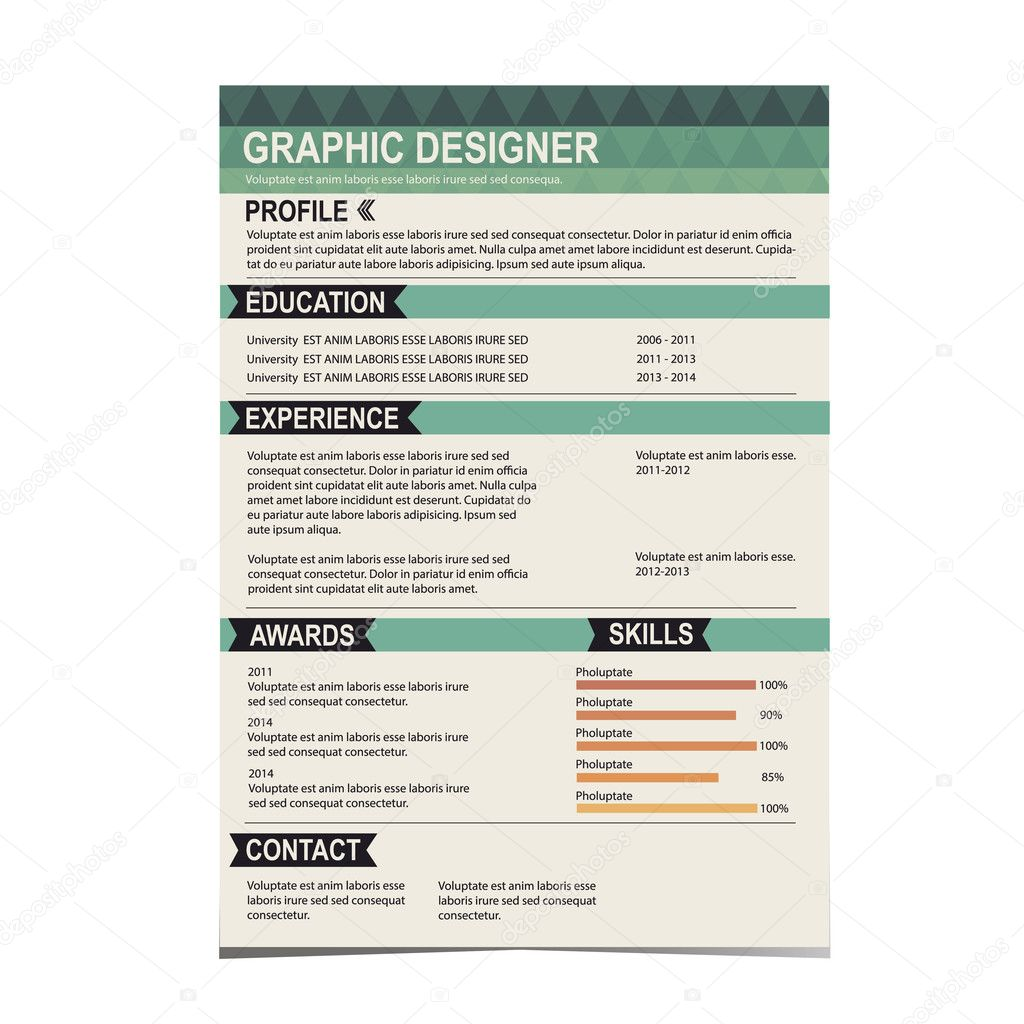 resume template  cv creative background   u2014 stock vector