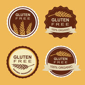 Gluten free and wheat labels. Retro design. — Vettoriale Stock