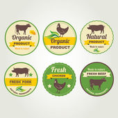 Badges beef, chicken and pork organic product — Stock Vector