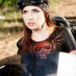 Red-haired biker girl — Stock Photo