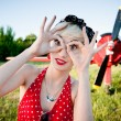 Cheerful retro girl — Stock Photo