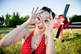 Cheerful retro girl — Stock Photo