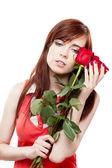 Девушка Холдинг красных роз — Стоковое фото