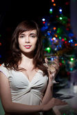 Sensual woman holding wineglass — Stock Photo